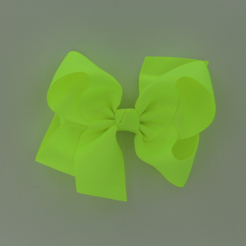 "Item no.: egch, Size              : 7.5""X6"" Color            : Neon Yellow Center          : Cone Ribbon Size : 2 1/4""  Type of Clip : French Clip   Made in USA"