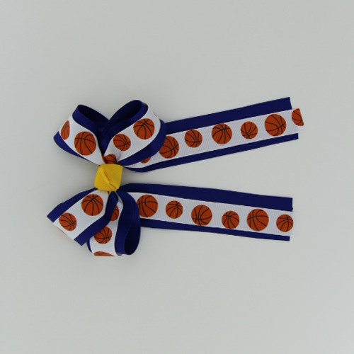 "Item no.: dgcgclbask, Size: 5 1/2"" X 9"",  Color: Royal Blue/White Lt. Gold Center Basketball,  Center: Cone,  Ribbon Size: 1 1/2"" / 7/8""  Type of Clip: French clip        MADE IN USA"