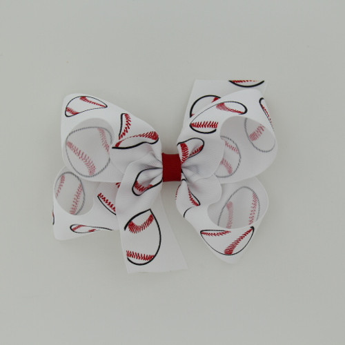 "Item no.: dgcsbase, Size: 6"" X 5"",  Color: White Red Center ""Baseball"",  Center: plain,  Ribbon Size: 1 1/2""   Type of Clip: Aligator clip        MADE IN USA"