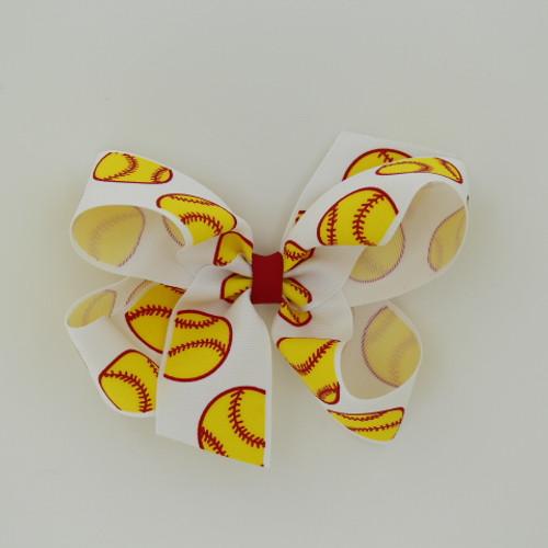 "Item no.: dgcssof, Size: 6"" X 5"",  Color: White Red Center ""Softball"",  Center: plain,  Ribbon Size: 1 1/2""   Type of Clip: Aligator Clip        MADE IN USA"