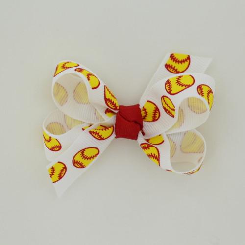 "Item no.: bgcssof, Size: 3"" X 2.5"",  Color: White Red Center ""Softball"",  Center: Cone,  Ribbon Size: 5/8""   Type of Clip: Aligator clip        MADE IN USA"
