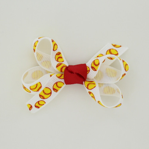 """Item no.: agcssof, Size: 2.5"""" X 2"""",  Color: White Red Center """"Softball"""",  Center: Cone,  Ribbon Size: 3/8""""   Type of Clip: Aligator clip        MADE IN USA"""
