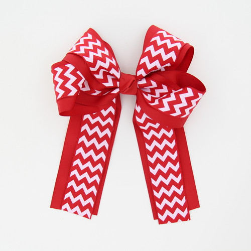 """Item No.:dglcchev   Size: 7""""X8.5""""  Color: Red/Red Chevron  Center: Cone  Ribbons Size: 2 1/4""""/ 1 1/2""""  Type of Clip: French Clip  MADE IN USA"""
