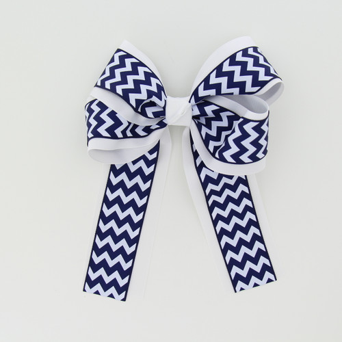 """Item No.:dglcchev   Size: 7""""X8.5""""  Color:White/Navy Chevron  Center: Cone  Ribbons Size: 2 1/4""""/ 1 1/2""""  Type of Clip: French Clip  MADE IN USA"""