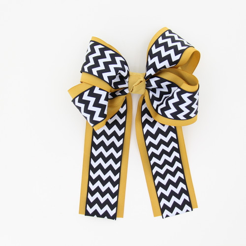 """Item No.:dglcchev   Size: 7""""X8.5""""  Color:A.Gold/Navy Chevron  Center: Cone  Ribbons Size: 2 1/4""""/ 1 1/2""""  Type of Clip: French Clip  MADE IN USA"""
