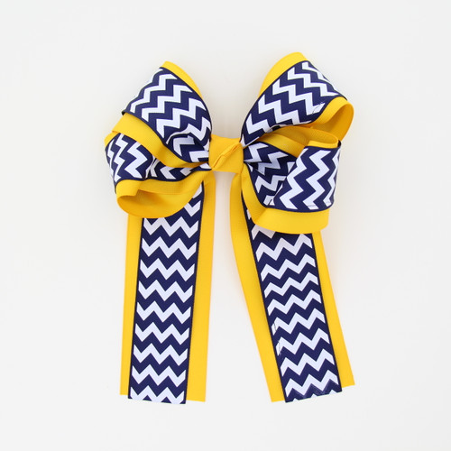 """Item No.:dglcchev   Size: 7""""X8.5""""  Color: Lt.Gold/Navy Chevron  Center: Cone  Ribbons Size: 2 1/4""""/ 1 1/2""""  Type of Clip: French Clip  MADE IN USA"""