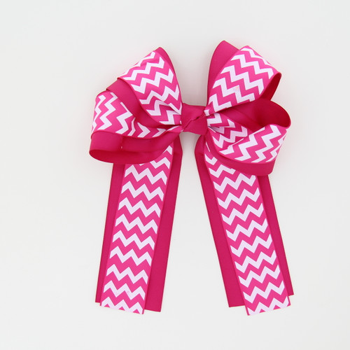 """Item No.:dglcchev   Size: 7""""X8.5""""  Color: Hot Pink/Hot Pink Chevron  Center: Cone  Ribbons Size: 2 1/4""""/ 1 1/2""""  Type of Clip: French Clip  MADE IN USA"""