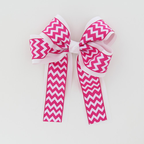 """Item No.:dglcchev   Size: 7""""X8.5""""  Color: White/Hot Pink Chevron  Center: Cone  Ribbons Size: 2 1/4""""/ 1 1/2""""  Type of Clip: French Clip  MADE IN USA"""