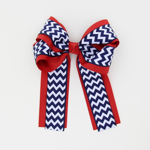 """Item No.:dglcchev   Size: 7""""X8.5""""  Color: Red/Navy Chevron  Center: Cone  Ribbons Size: 2 1/4""""/ 1 1/2""""  Type of Clip: French Clip  MADE IN USA"""