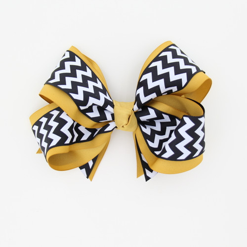 "Item No.:dgcchev   Size: 7""X5""  Color: A.Gold/Navy Chevron  Center: Cone  Ribbons Size: 2 1/4""/ 1 1/2""  Type of Clip: French Clip  MADE IN USA"