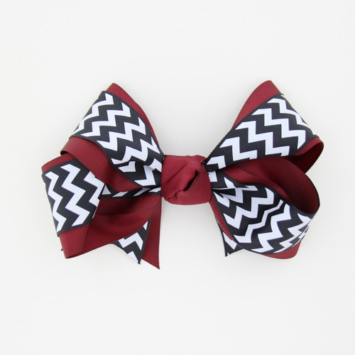 "Item No.:dgcchev   Size: 7""X5""  Color: Burgundy/Navy Chevron  Center: Cone  Ribbons Size: 2 1/4""/ 1 1/2""  Type of Clip: French Clip  MADE IN USA"