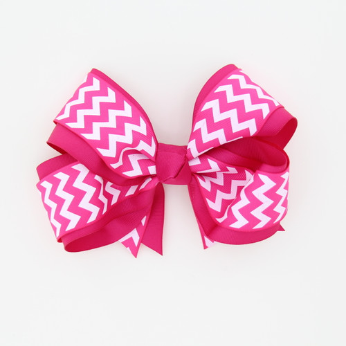 "Item No.:dgcchev   Size: 7""X5""  Color: Hot Pink/Hot Pink Chevron  Center: Cone  Ribbons Size: 2 1/4""/ 1 1/2""  Type of Clip: French Clip  MADE IN USA"