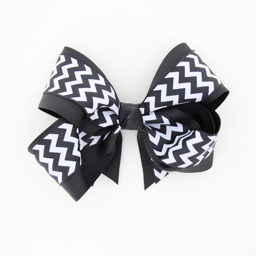 "Item No.:dgcchev   Size: 7""X5""  Color: Black/Black Chevron  Center: Cone  Ribbons Size: 2 1/4""/ 1 1/2""  Type of Clip: French Clip  MADE IN USA"