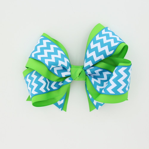 "Item No.:dgcchev   Size: 7""X5""  Color: Lime/Blue Chevron  Center: Cone  Ribbons Size: 2 1/4""/ 1 1/2""  Type of Clip: French Clip  MADE IN USA"