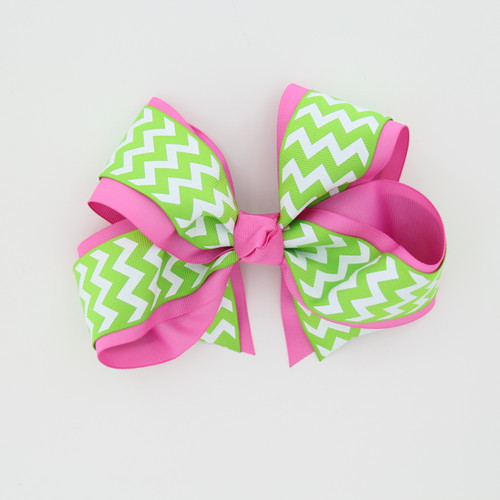"Item No.:dgcchev   Size: 7""X5""  Color: M.Pink/Lime Chevron  Center: Cone  Ribbons Size: 2 1/4""/ 1 1/2""  Type of Clip: French Clip  MADE IN USA"