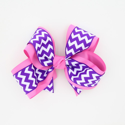 "Item No.:dgcchev   Size: 7""X5""  Color: M.Pink/Purple Chevron  Center: Cone  Ribbons Size: 2 1/4""/ 1 1/2""  Type of Clip: French Clip  MADE IN USA"