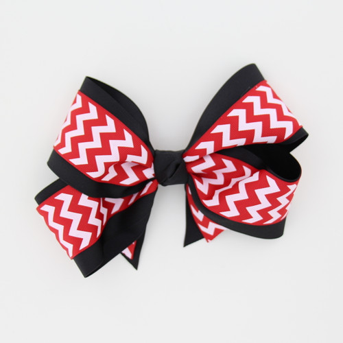"Item No.:dgcchev   Size: 7""X5""  Color: Black/Red Chevron  Center: Cone  Ribbons Size: 2 1/4""/ 1 1/2""  Type of Clip: French Clip  MADE IN USA"