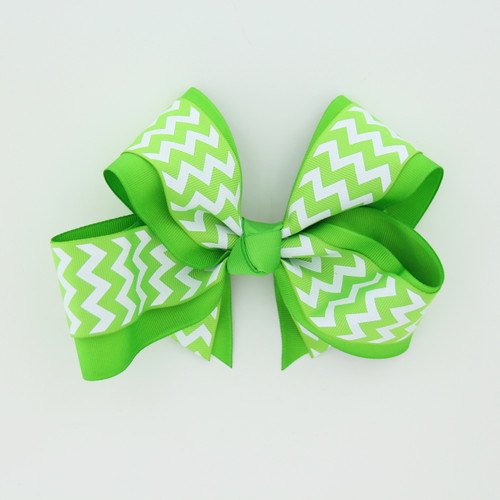 "Item No.:dgcchev   Size: 7""X5""  Color: Lime/Lime Chevron  Center: Cone  Ribbons Size: 2 1/4""/ 1 1/2""  Type of Clip: French Clip  MADE IN USA"
