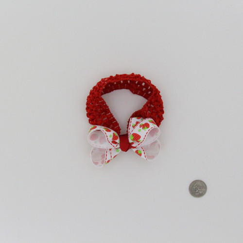 Elestic Crocket Headband with Strawberry Bow