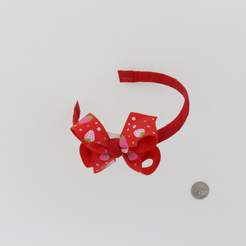 Red Headband with Strawberry Bow