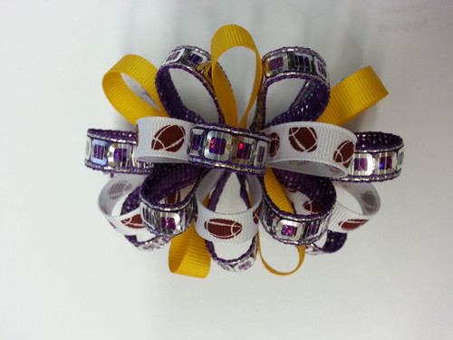 Large Metallic Football Puff Hairbow  Lt. Gold/Purple/White Football