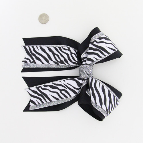 Triple layer Black Grosgrain/Silver Glitter/Zebra on top  French Clip