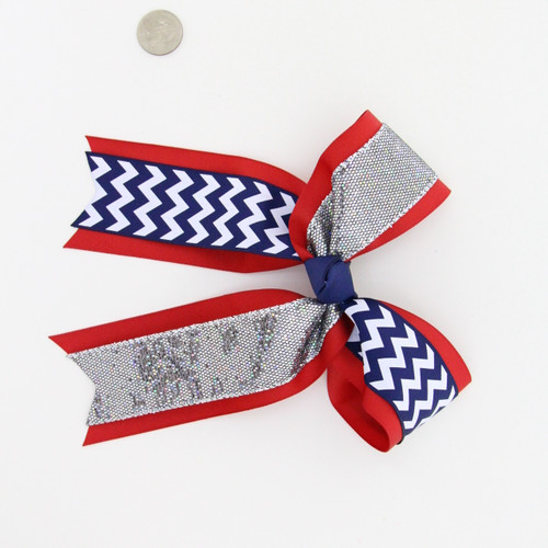 "Double layer with split Chevron and Silver Diamond Bling Glitter  2 1/4""Red GG/ 1 1/2"" Navy Chev and Silver Diamond Bling Glitter  French Clip"