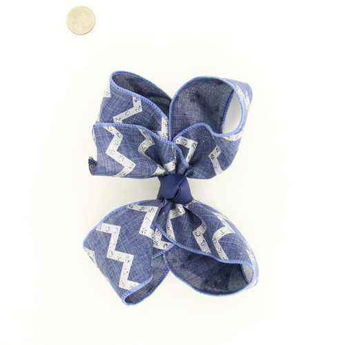 Navy Jute with Silver gliltter Chevron prints Aligator clip, French, or Pony 7""