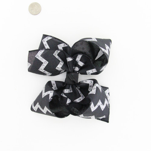 Black Jute with Silver gliltter Chevron prints Aligator clip, French, or Pony 7""