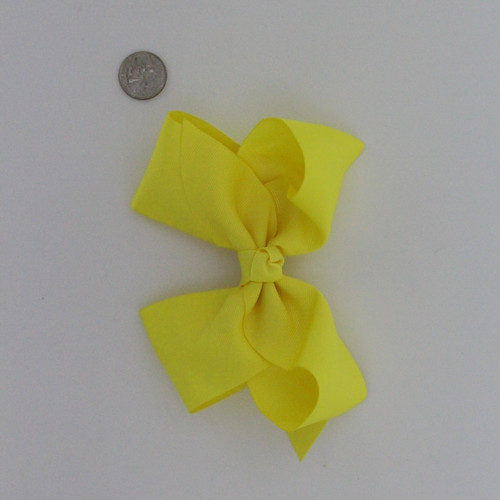 "Large 2 1/4"" Ribbon Bow Imported Aligator Clip Yellow"