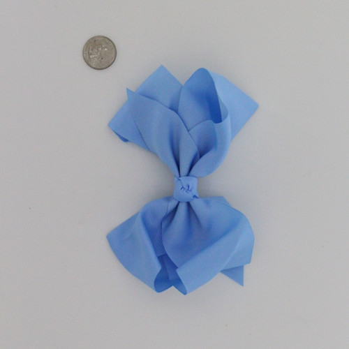 "Large 2 1/4"" Ribbon Bow Imported Aligator Clip Blue"