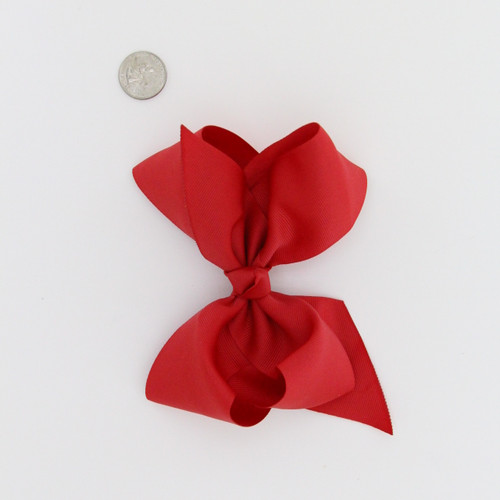 "Large 2 1/4"" Ribbon Bow Imported Aligator Clip REd"