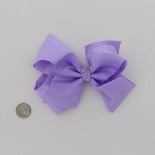 "Large 2 1/4"" Ribbon Bow Imported  Aligator Clip Lavender"