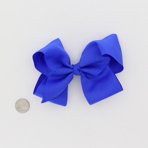 "Large 2 1/4"" Ribbon Bow Imported Aligator Clip Royal Blue"