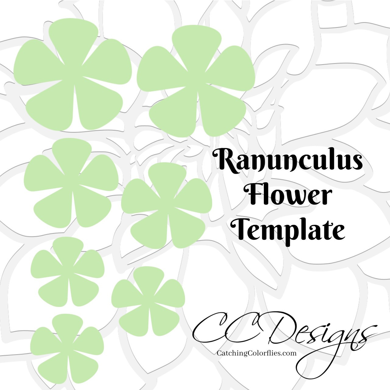 Ranunculus Paper Flower Templates Catching Colorflies