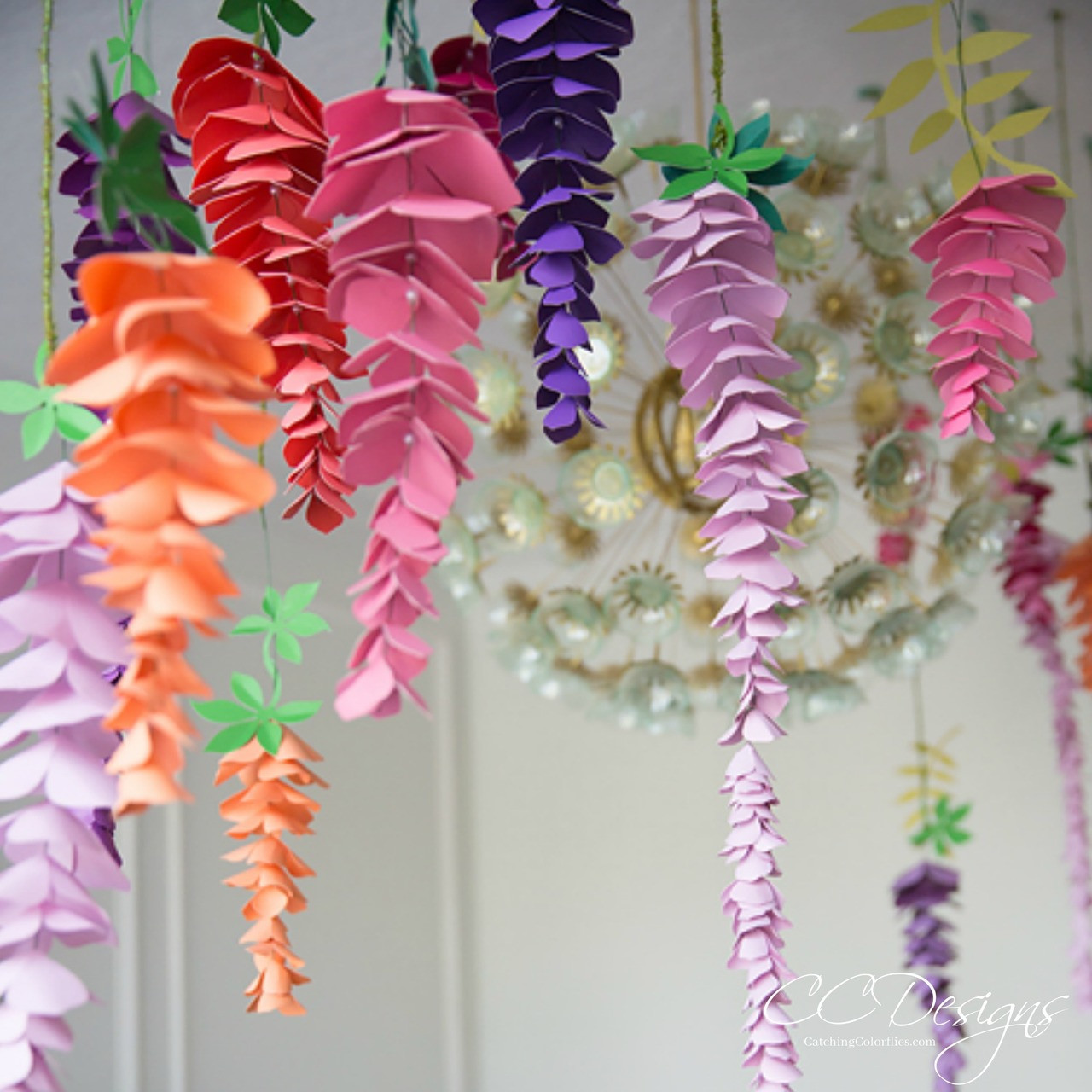 Hanging Paper Wisteria Flower Templates Catching Colorflies