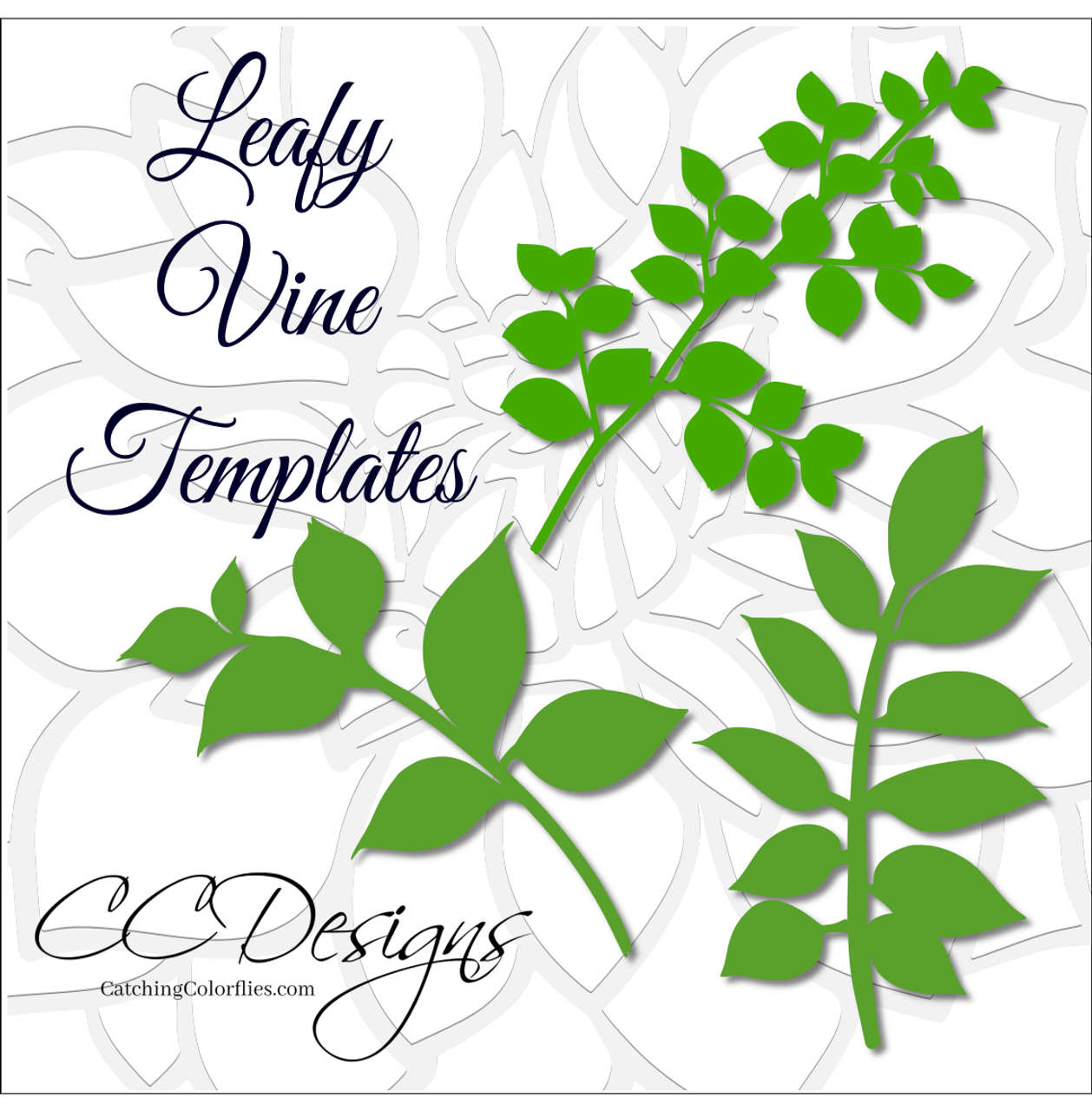 leafy vine set leaf svg template catching colorflies