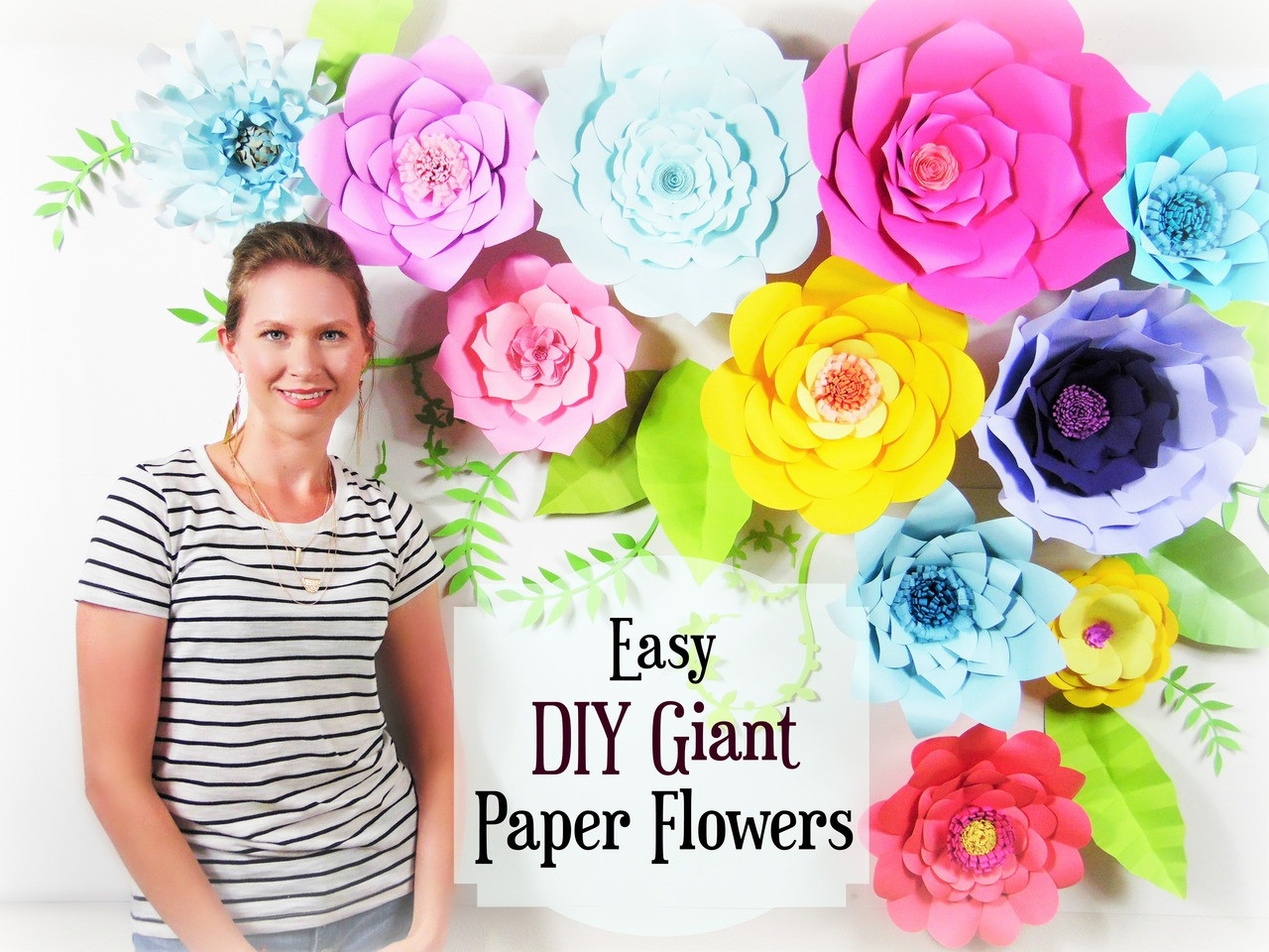 Set Of 5 Giant Flower Templates Diy Paper Flower Wall Catching