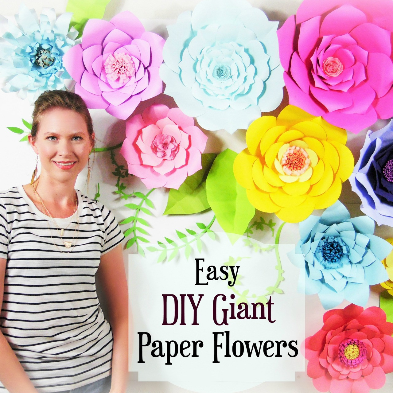 Set Of 5 Giant Flower Templates Diy Paper Flower Wall