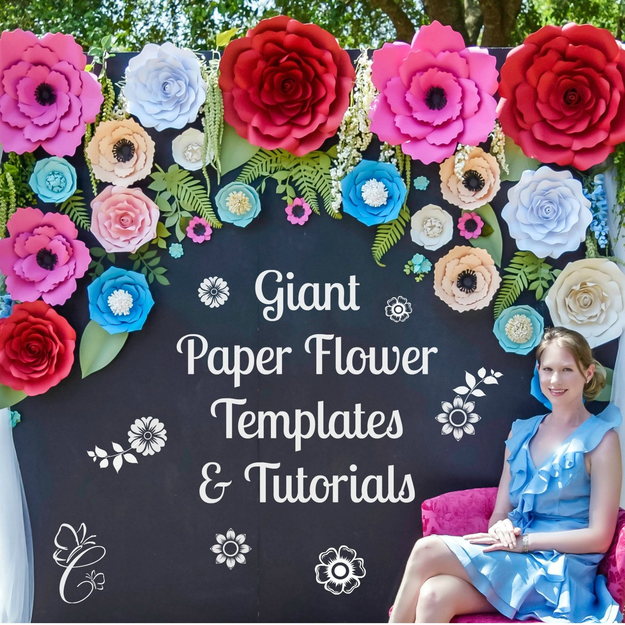 Giant Paper Flowers Paper Rose Templates Set Of 5 Catching Colorflies