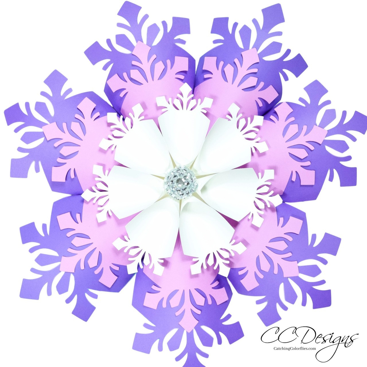 Large Paper Snowflake Flower Template Catching Colorflies