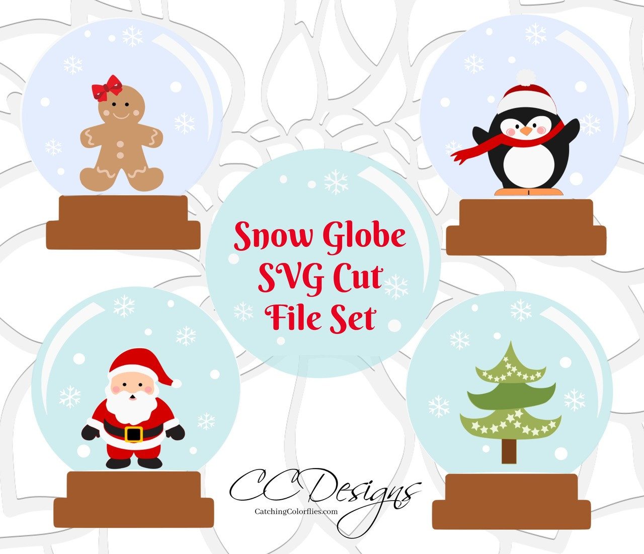 Set Of 4 Snow Globe Svg Dxf Cut Files Catching Colorflies
