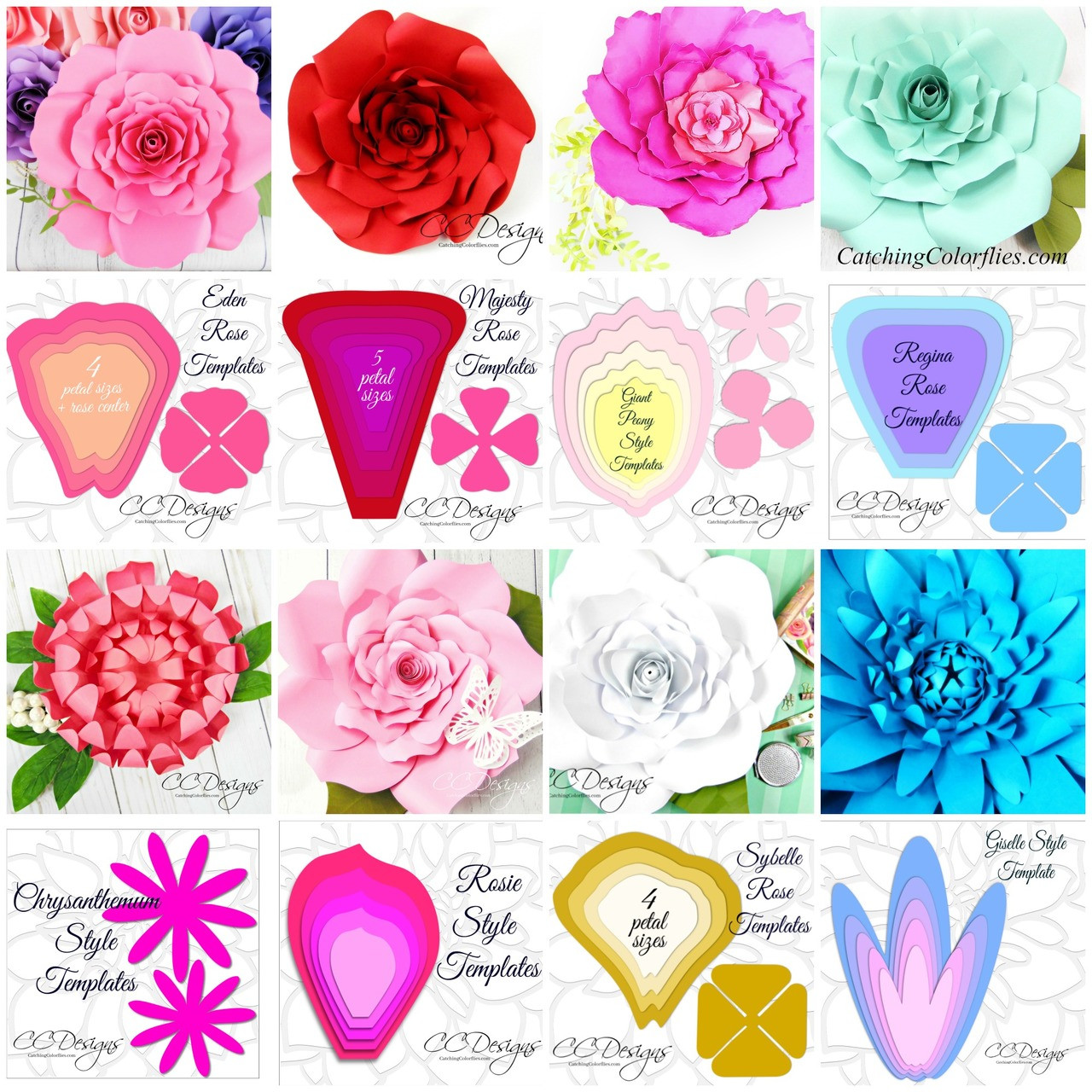 image relating to Flower Template Printable named Huge Flower Template Fastened of 16 Flower Templates, additionally Leaves, and Facilities