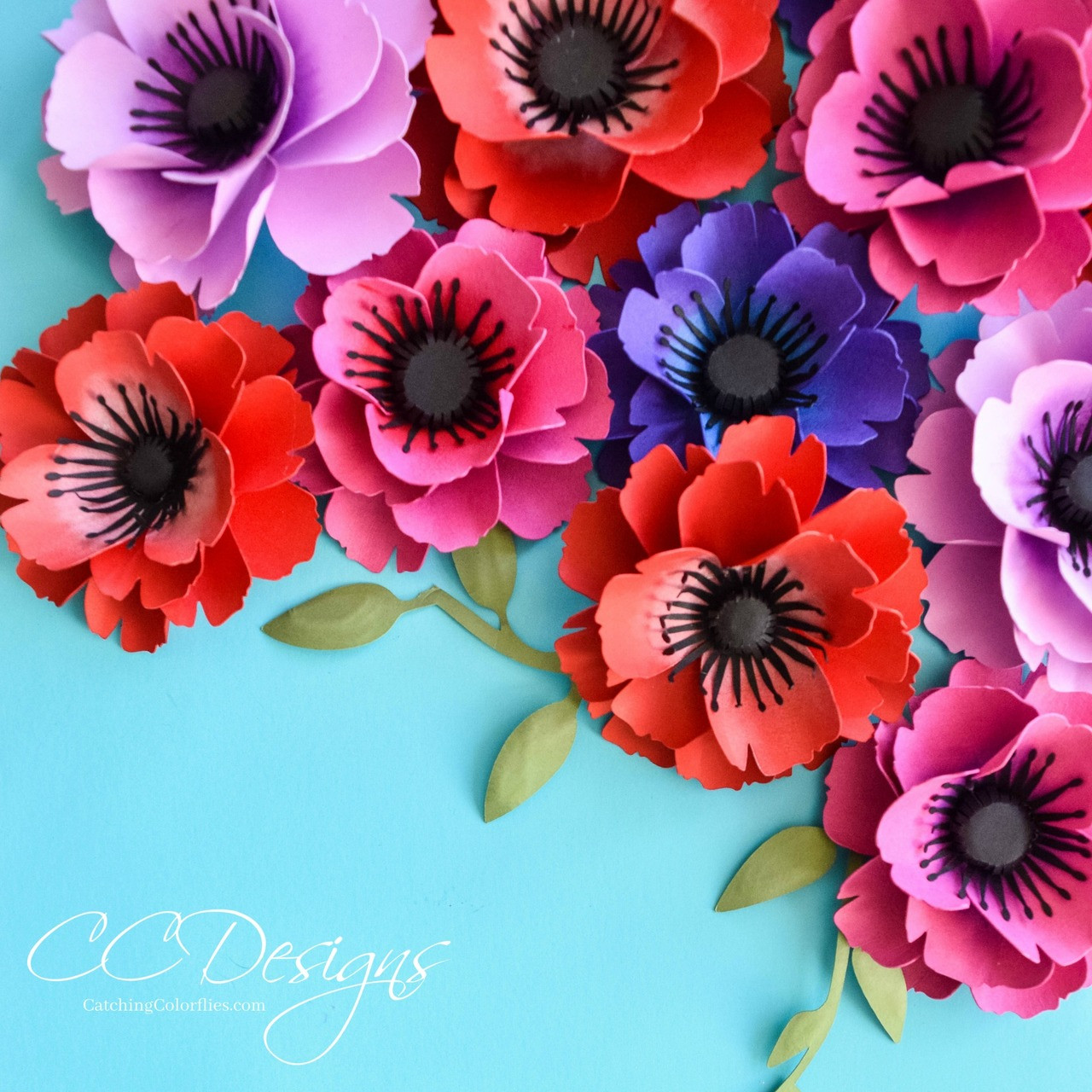 Small Poppy Paper Flower Template