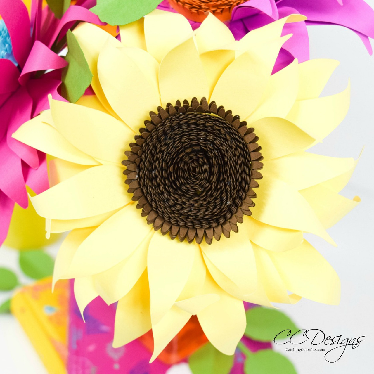 sunflower paper flower template small catching colorflies