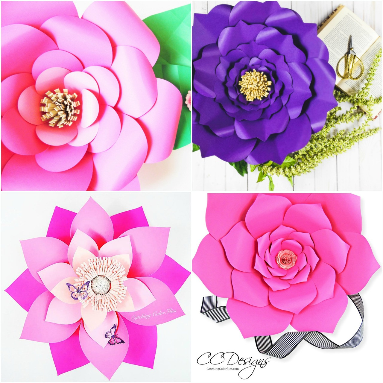 Set Of 4 Large Flower Templates Paper Flower Patterns Pdf And Svg Catching Colorflies