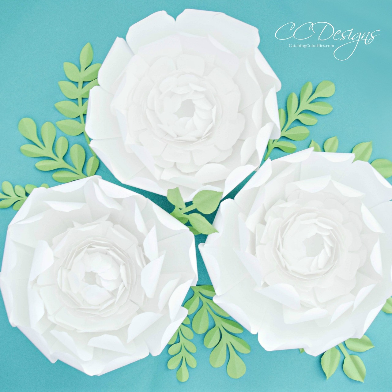 Giant Paper Snow Peony Flower Template With Vines