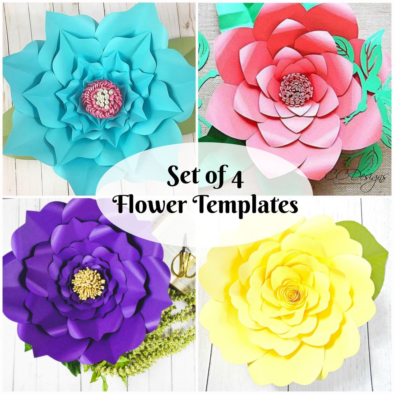 Giant Paper Flower Templates Set Of 4