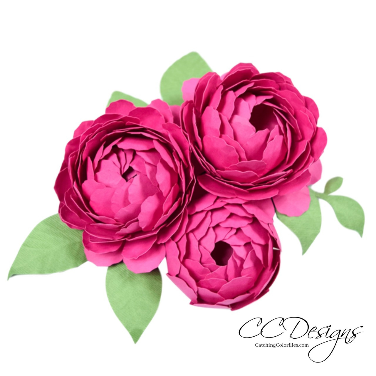 Set Of 2 Dahlia And Peony Paper Flower Template Catching Colorflies