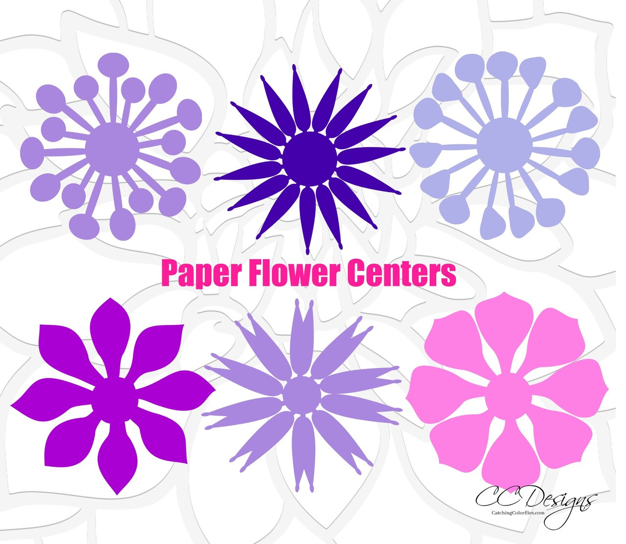 Paper Flower Centers Cut Files Set 2 Catching Colorflies